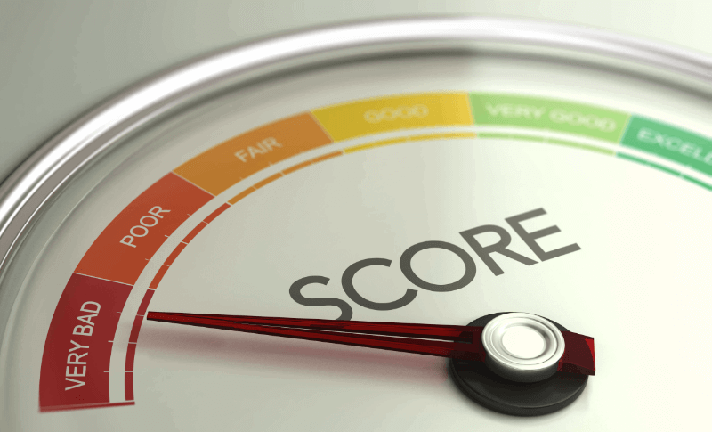 credit score scale pointing to bad credit