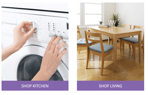 shop kitchen or living button